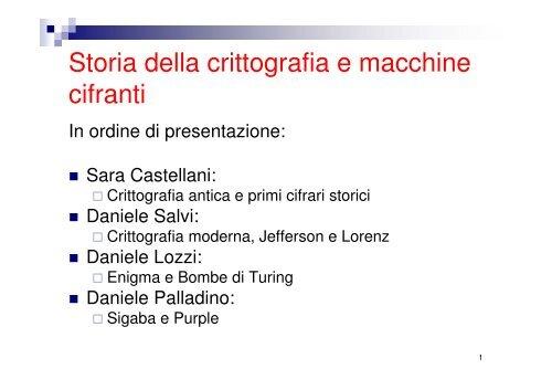 Storia della crittografia e macchine cifranti -