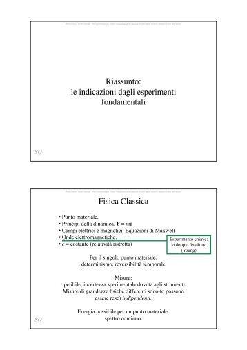 Alcuni elementi formali della Meccanica Quantistica