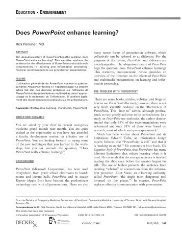 Does PowerPoint enhance learning?