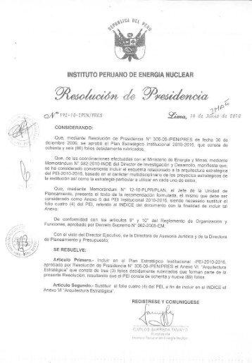 Plan Estratégico Institucional - Instituto Peruano de Energía Nuclear
