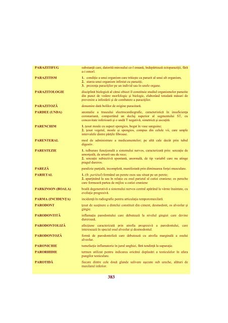 Mic dicţionar bio-medical - Veterinary Pharmacon