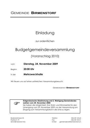Einladung 2009-11-24 - Gemeinde Birmenstorf