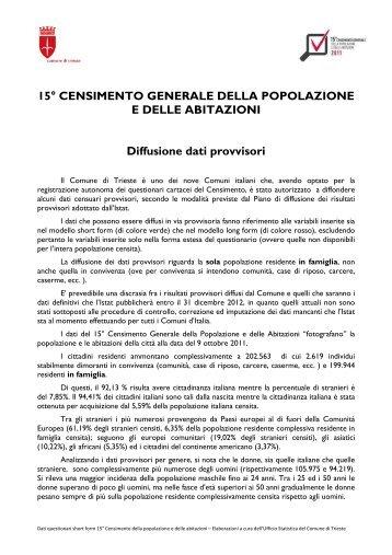 Dati provvisori 15° Censimento Generale della Popolazione e delle ...