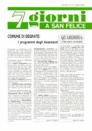 ornI A SAN FELICE COMUNE DI SEGRATE - Quartiere San Felice