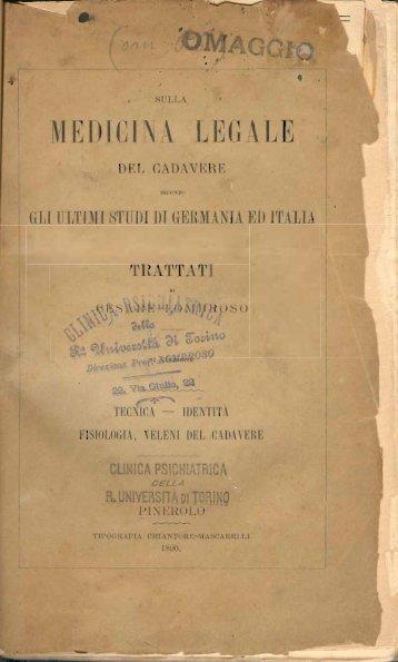Cesare Lombroso, Sulla medicina legale del cadavere secondo