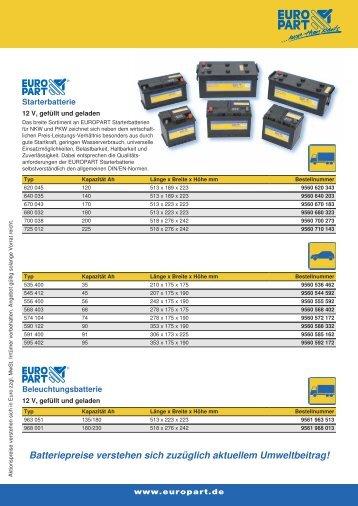 Batteriepreise verstehen sich zuzüglich aktuellem ... - Weweler Parts