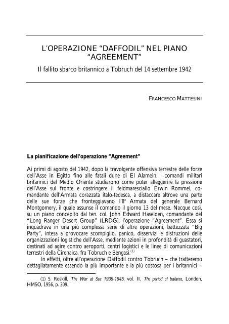 """l'operazione """"daffodil"""" nel piano """"agreement"""" - Marina Militare"""