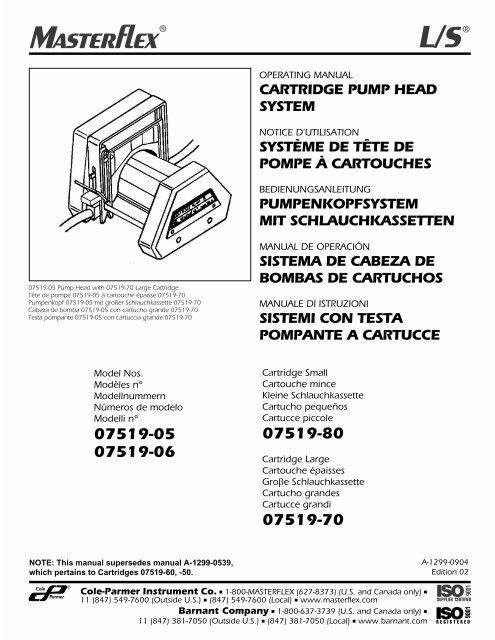 Masterflex//P fácil carga I Bomba Cabeza