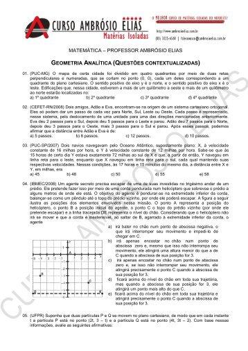 Professor Ambrósio Elias – Material Geometria Analítica - Curso ...