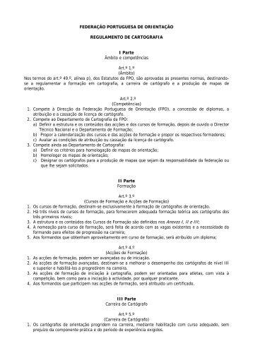 Regulamento de Cartografia FPO - Federação Portuguesa de ...