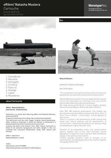 eRikm/ Natasha Muslera Cartouche - Monotyperecords