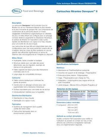 Cartouches filtrantes OenopureTM II - Pall Corporation