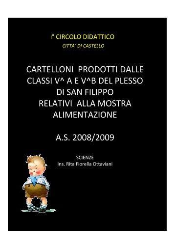 """Cartelloni alimentazione 2008/09 - 1° Circolo Didattico """"San Filippo"""""""