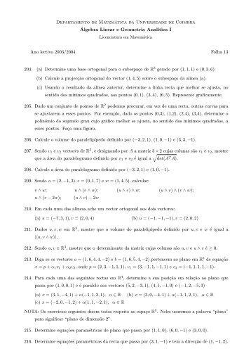 Folha 13 - Departamento de Matemática - Universidade de Coimbra