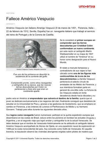 Fallece Américo Vespucio - Noticias Universia