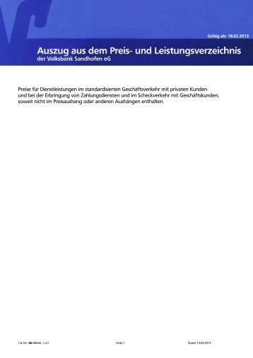 Auszug Preis- und Leistungsverzeichnis (PDF | 125 KB) - Volksbank ...
