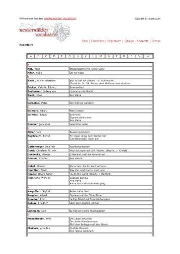Chorleiter | Repertoire | Erfolge | Konzerte - Westerwälder Vocalisten