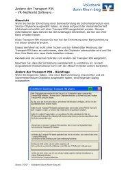VR-NetWorld Software - Volksbank Bonn Rhein-Sieg