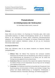 Preisstrukturen im Urteilsprozess der Verbraucher - Vocatus AG