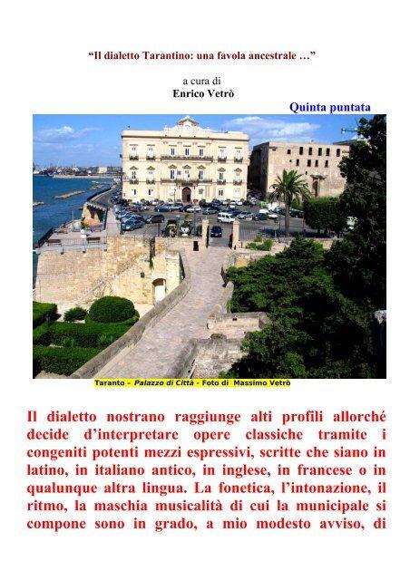 Poesie Di Natale In Dialetto Tarantino.Il Dialetto Tarantino Una Favola Ancestrale Taranto In
