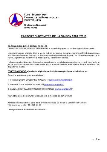 RAPPORT D'ACTIVITÉS DE LA SAISON 2009 / 2010 - CSCP Volley