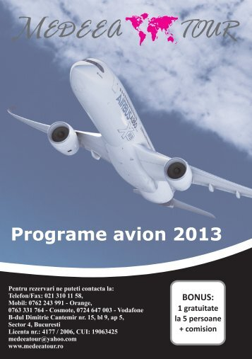 Programe avion 2013 - MEDEEA TOUR | medeeatour.ro