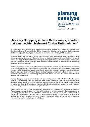 """""""Mystery Shopping ist kein Selbstzweck, sondern hat einen echten ..."""