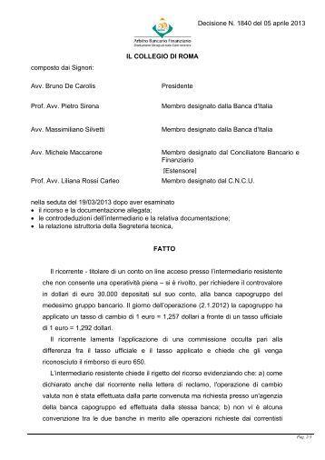 Decisione n. 1840 del 5 aprile 2013 - Arbitro Bancario Finanziario
