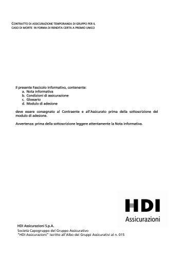 """Società Capogruppo del Gruppo Assicurativo """"HDI ... - Consel"""