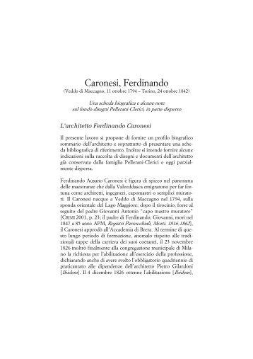 Caronesi, Ferdinando - Magazzeno Storico Verbanese