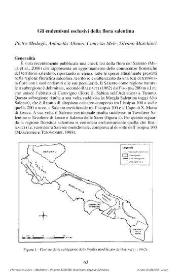 Gli endemismi esclusivi della flora salentina Pietro ... - culturaservizi.it