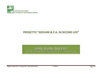 """PROGETTO """"GIOVANI & P.A. IN SECOND LIFE"""""""