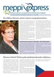 Eva-Riitta Siitonen aloitti työnsä europarlamentissa Siitonen kiitteli ...