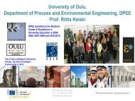 University of Oulu, Department of Process and Environmental ...