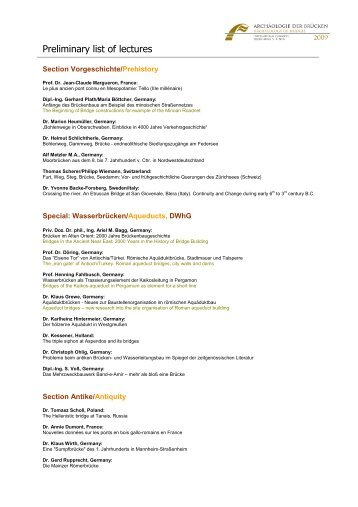 Preliminary list of lectures - DWhG