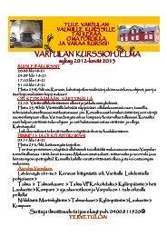 VARPULAN KURSSIOHJELMA syksy 2012-kevät 2013 kevät 2013