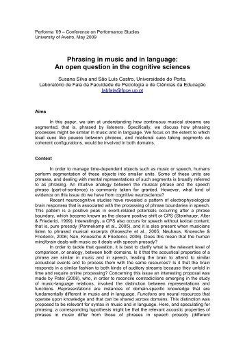 Phrasing in music and in language: An open question in ... - Performa
