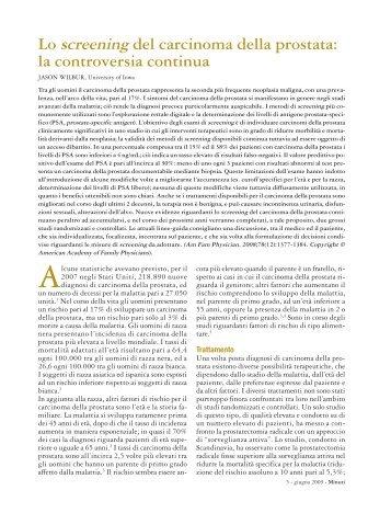 del carcinoma della prostata - Fondazione Internazionale Menarini