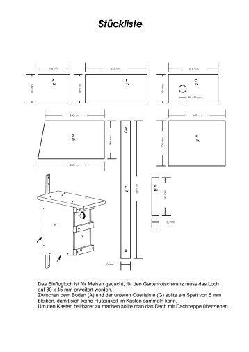 bauplan nistkasten nistkasten bauplan gartenfreunde. Black Bedroom Furniture Sets. Home Design Ideas