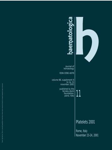 2001; 10(Piastrine) - Supplements - Haematologica