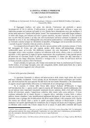 1 LA DONNA: STORIA E PROBLEMI Le radici cristiane del ... - Laici