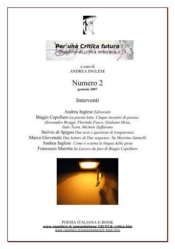 Numero 2 - Biagio Cepollaro, poesia