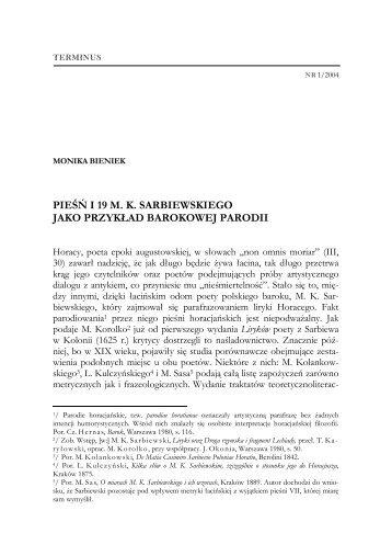 Pieśń I 19 Mk Sarbiewskiego Jako Przykład Barokowej Parodii