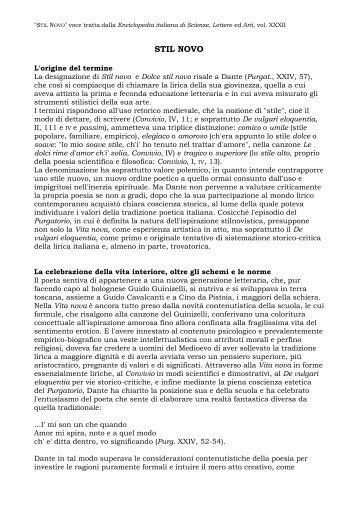 Salvatore Battaglia, voce STIL NOVO, da Enciclopedia ... - Treccani