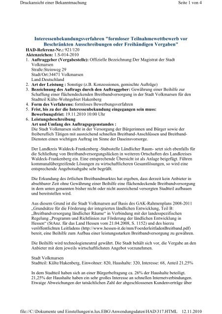 Interessenbekundungsverfahren Formloser Stadt Volkmarsen