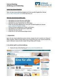 Internet-Banking - Anleitung zum Ersteinstieg