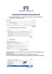 Erstanmeldung VR-NetKey mit mTAN - Volksbank Dillingen eG