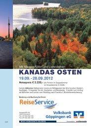 Reiseprospekt Kanadas Osten