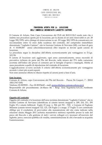 avviso locazione Laghetto Cantone - Comune di Arluno
