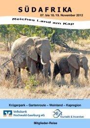 Reiseprospekt Südafrika - Volksbank Hochwald-Saarburg eG